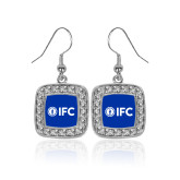 Crystal Studded Square Pendant Silver Dangle Earrings-IFC