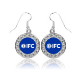 Crystal Studded Round Pendant Silver Dangle Earrings-IFC