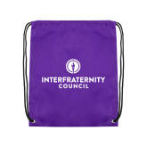 Purple Drawstring Backpack-Primary Logo Centered