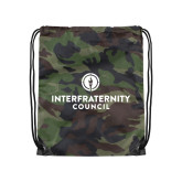 Camo Drawstring Backpack-Primary Logo Centered