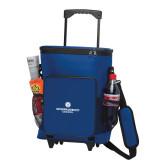 30 Can Blue Rolling Cooler Bag-Primary Logo Centered