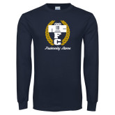 Navy Long Sleeve T Shirt-Personalized Fraternity Name Script