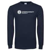 Navy Long Sleeve T Shirt-Primary Logo Left