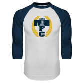 White/Navy Raglan Baseball T Shirt-NICFC