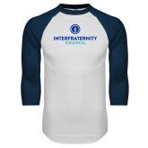 White/Navy Raglan Baseball T Shirt-Primary Logo Centered
