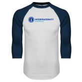 White/Navy Raglan Baseball T Shirt-Primary Logo Left