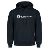 Navy Fleece Hoodie-Primary Logo Left