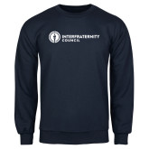 Navy Fleece Crew-Primary Logo Left