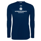 Under Armour Navy Long Sleeve Tech Tee-Primary Logo Centered