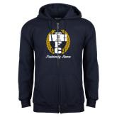 Navy Fleece Full Zip Hoodie-Personalized Fraternity Name Script