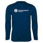 Performance Navy Longsleeve Shirt-Primary Logo Left