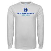 White Long Sleeve T Shirt-Primary Logo Centered