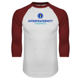 White/Cardinal Raglan Baseball T Shirt-Primary Logo Centered