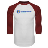 White/Cardinal Raglan Baseball T Shirt-Primary Logo Left