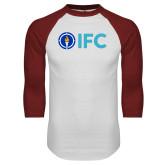White/Cardinal Raglan Baseball T Shirt-IFC