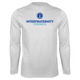 Performance White Longsleeve Shirt-Primary Logo Centered