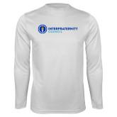 Performance White Longsleeve Shirt-Primary Logo Left