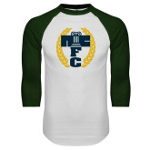 White/Dark Green Raglan Baseball T Shirt-NICFC
