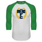 White/Kelly Green Raglan Baseball T Shirt-NICFC