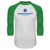 White/Kelly Green Raglan Baseball T Shirt-Primary Logo Centered