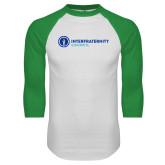 White/Kelly Green Raglan Baseball T Shirt-Primary Logo Left