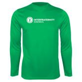 Performance Kelly Green Longsleeve Shirt-Primary Logo Left