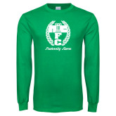 Kelly Green Long Sleeve T Shirt-Personalized Fraternity Name Script