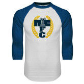 White/Royal Raglan Baseball T Shirt-NICFC