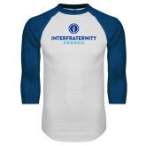 White/Royal Raglan Baseball T Shirt-Primary Logo Centered