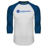 White/Royal Raglan Baseball T Shirt-Primary Logo Left