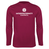 Performance Maroon Longsleeve Shirt-Primary Logo Centered