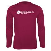 Performance Maroon Longsleeve Shirt-Primary Logo Left