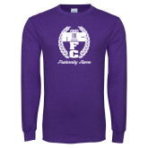 Purple Long Sleeve T Shirt-Personalized Fraternity Name Script