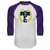 White/Purple Raglan Baseball T Shirt-NICFC