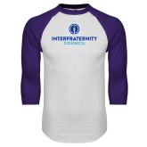White/Purple Raglan Baseball T Shirt-Primary Logo Centered