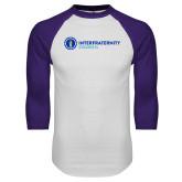 White/Purple Raglan Baseball T Shirt-Primary Logo Left