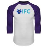 White/Purple Raglan Baseball T Shirt-IFC