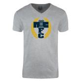 Next Level V Neck Heather Grey T Shirt-NICFC