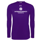 Under Armour Purple Long Sleeve Tech Tee-Primary Logo Centered