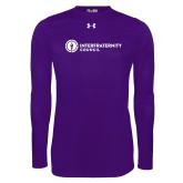 Under Armour Purple Long Sleeve Tech Tee-Primary Logo Left