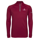 Under Armour Maroon Tech 1/4 Zip Performance Shirt-Primary Logo Centered