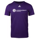Adidas Purple Logo T Shirt-Primary Logo Left