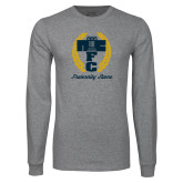Grey Long Sleeve T Shirt-Personalized Fraternity Name Script