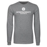 Grey Long Sleeve T Shirt-Primary Logo Centered