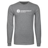 Grey Long Sleeve T Shirt-Primary Logo Left