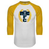 White/Gold Raglan Baseball T Shirt-NICFC