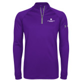 Under Armour Purple Tech 1/4 Zip Performance Shirt-Primary Logo Centered