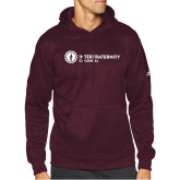 Adidas Maroon Team Issue Hoodie-Primary Logo Left