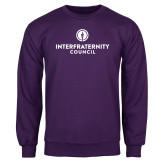 Purple Fleece Crew-Primary Logo Centered