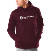 Under Armour Maroon Armour Fleece Hoodie-Primary Logo Left